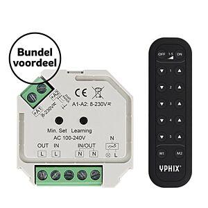 Kabelloser LED-Dimmer 230V Komplettes Set inkl. 5 Zonen RF-Fernbedienung