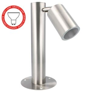 Außenstehleuche Nalo niedrig einzeln GU10 rund Edelstahl IP54 inkl. gratis Lampe