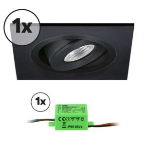 Komplettes Set 1 x LED-Einbaustrahler Alba quadratisch 3W 2700K Schwarz IP65 dimmbar schwenkbar