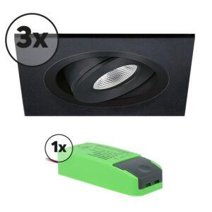 Komplettes Set 3 x LED-Einbaustrahler Alba quadratisch 3W 2700K Schwarz IP65 dimmbar schwenkbar