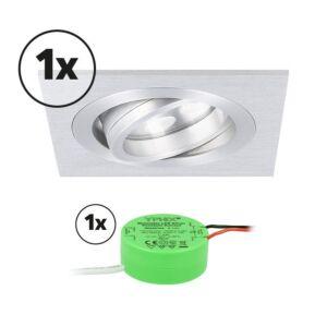 Komplettes Set 1 x LED-Einbaustrahler Lecco quadratisch 5W 2700K Aluminium IP65 dimmbar schwenkbar