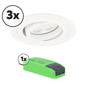 Komplettes Set 3 x LED-Einbaustrahler Montella rund 5W 2700K Weiß IP65 dimmbar schwenkbar