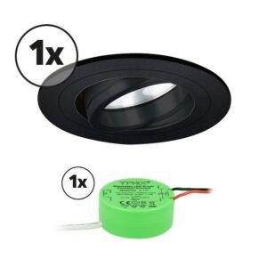Komplettes Set 1 x LED-Einbaustrahler Montella rund 5W 2700K Schwarz IP65 dimmbar schwenkbar