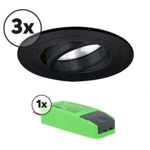 Komplettes Set 3 x LED-Einbaustrahler Montella rund 5W 2700K Schwarz IP65 dimmbar schwenkbar