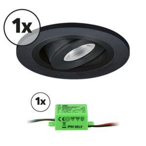 Komplettes Set 1 x LED-Einbaustrahler Monza rund 3W 2700K Schwarz IP65 dimmbar schwenkbar