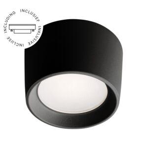 Aufbaustrahler Livia Schwarz rund inkl. Lichtquelle 230V 3W IP55 diffuses Glas