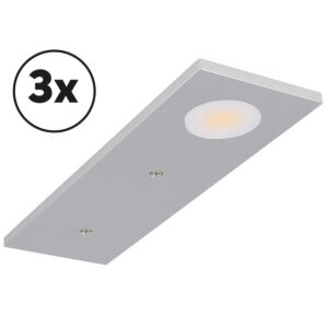 LED-Schrankbeleuchtung Komplettes Set Somano Aufbau 3 x 3W 2700K Aluminium dimmbar 12V DC