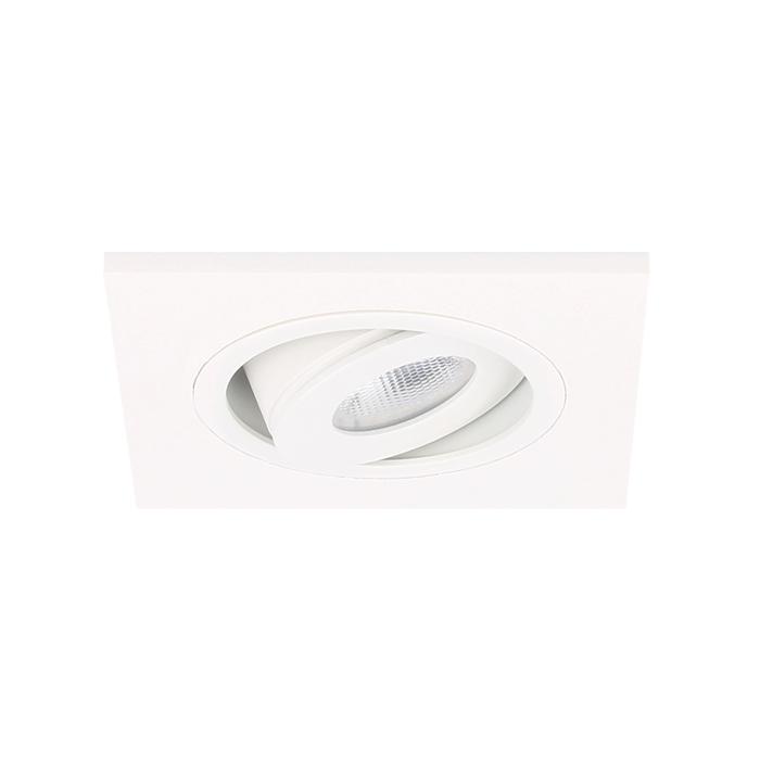 LED Einbaustrahler Alba quadratisch 3W 2700K Weiß IP65 dimmbar schwenkbar