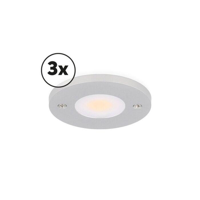 LED-Schrankbeleuchtung Komplettes Set Livo Aufbau 3 x 3W 2700K Aluminium dimmbar 12V DC
