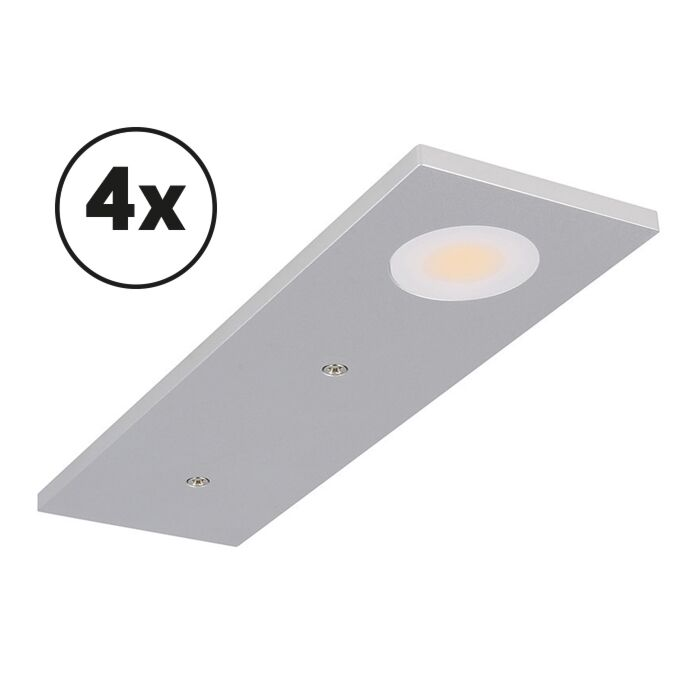 LED-Schrankbeleuchtung Komplettes Set Somano Aufbau 4 x 3W 2700K Aluminium dimmbar 12V DC